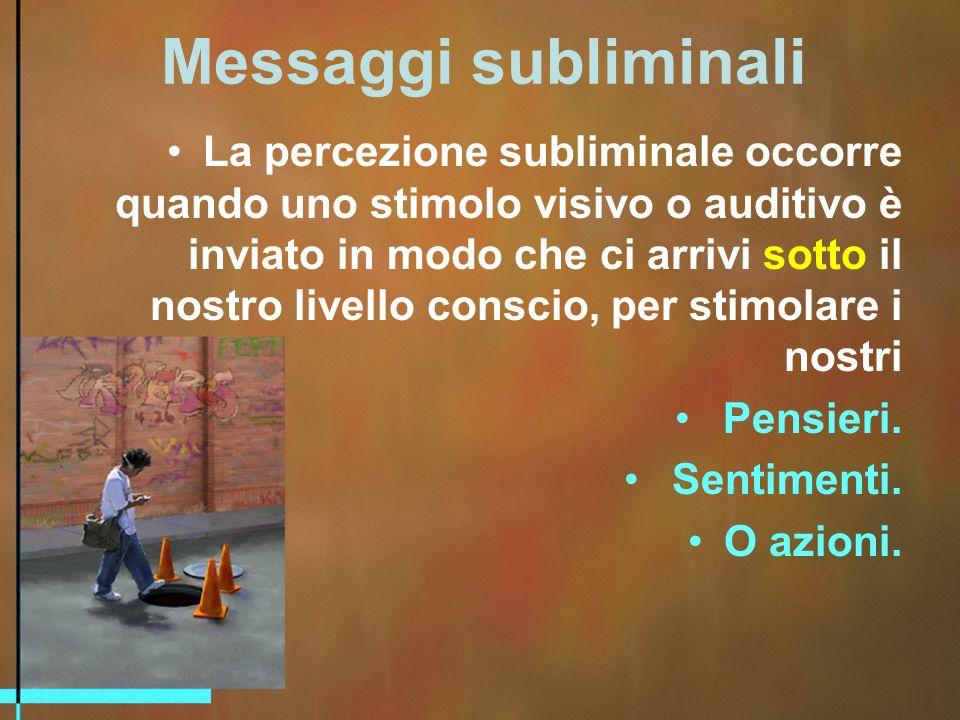 Messaggi subliminali La percezione subliminale occorre quando uno stimolo visivo o auditivo è inviato in modo che ci arrivi sotto il nostro livello conscio, per stimolare i nostri Pensieri.