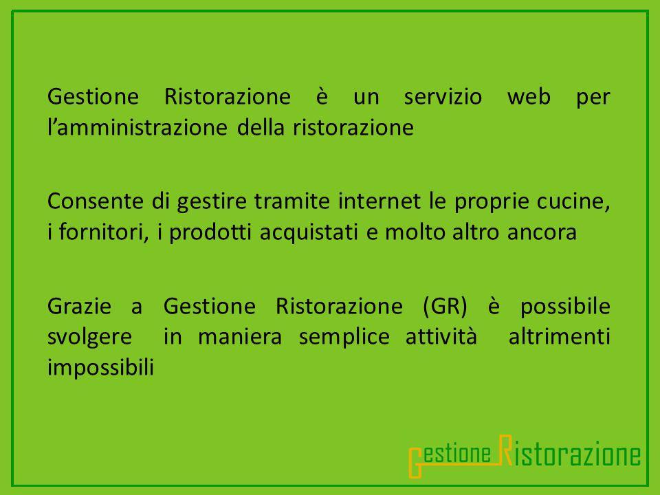 .............................. Gestione Ristorazione è un servizio web per lamministrazione della ristorazione Consente di gestire tramite internet le
