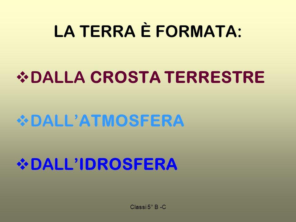 Classi 5° B -C LA TERRA È FORMATA: DALLA CROSTA TERRESTRE DALLATMOSFERA DALLIDROSFERA