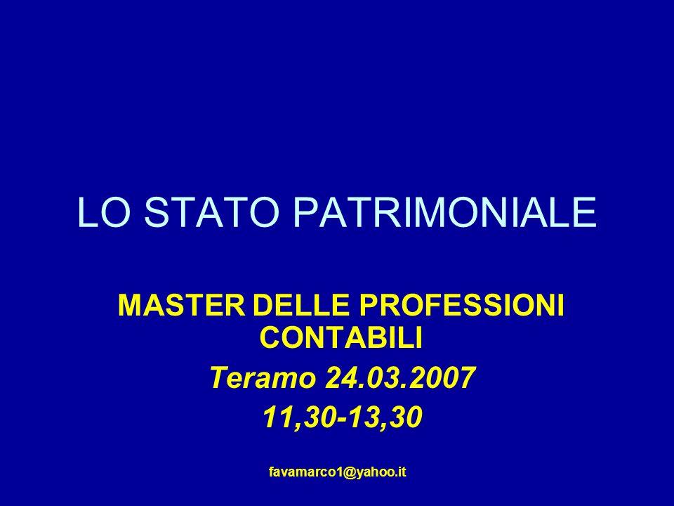 favamarco1@yahoo.it LO STATO PATRIMONIALE MASTER DELLE PROFESSIONI CONTABILI Teramo 24.03.2007 11,30-13,30