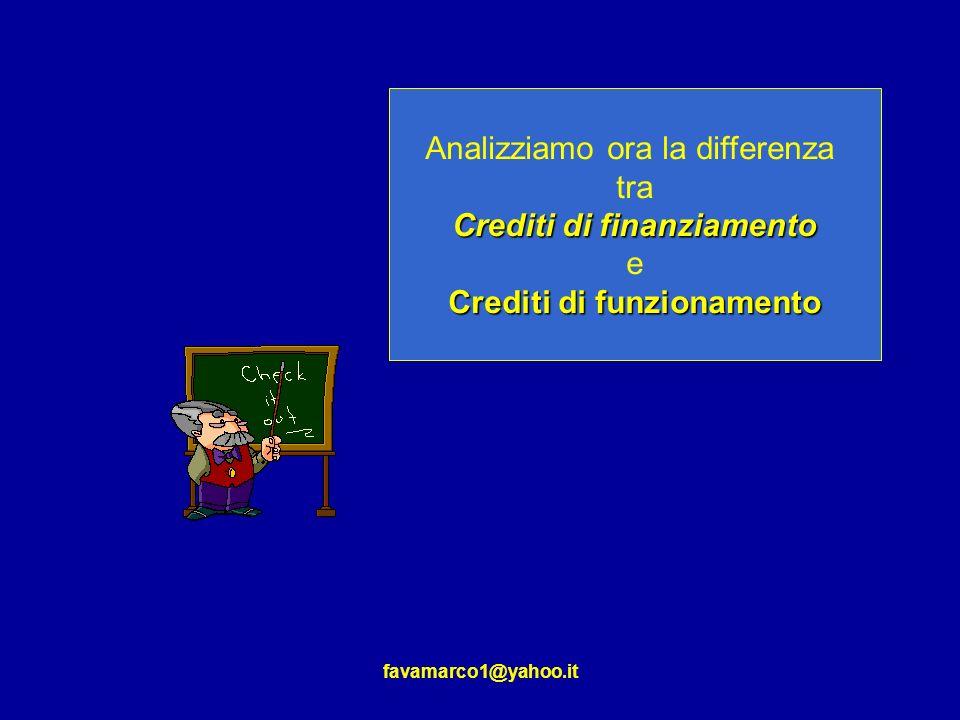 favamarco1@yahoo.it Analizziamo ora la differenza tra Crediti di finanziamento e Crediti di funzionamento