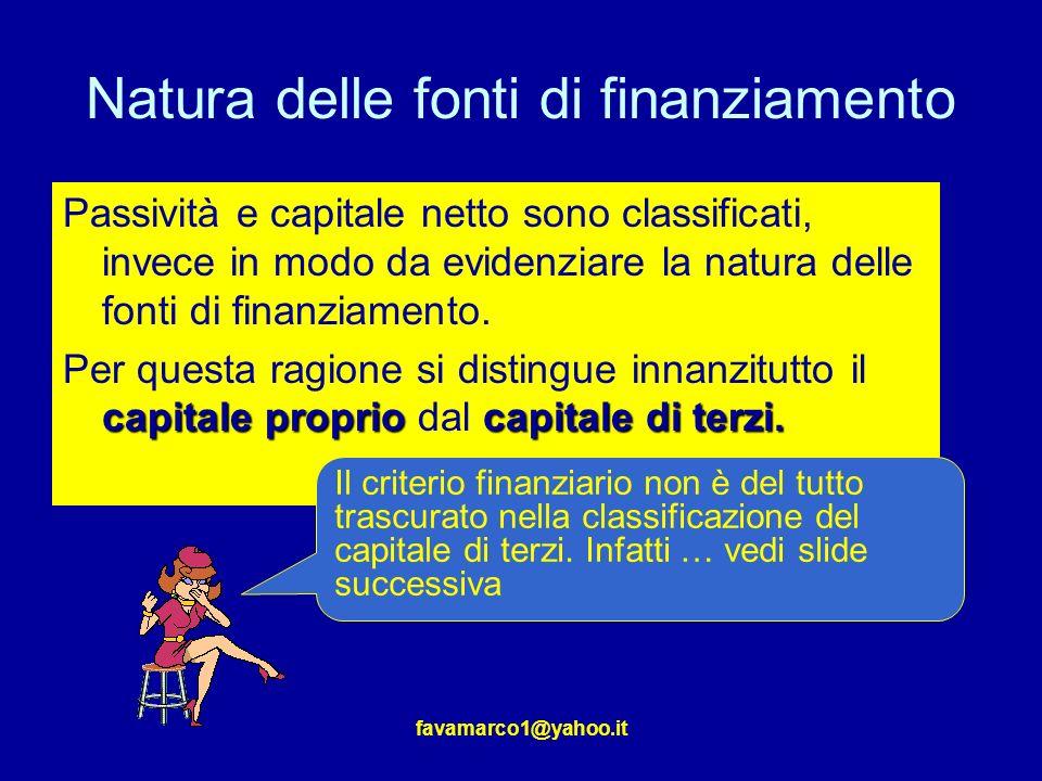 favamarco1@yahoo.it Natura delle fonti di finanziamento Passività e capitale netto sono classificati, invece in modo da evidenziare la natura delle fonti di finanziamento.
