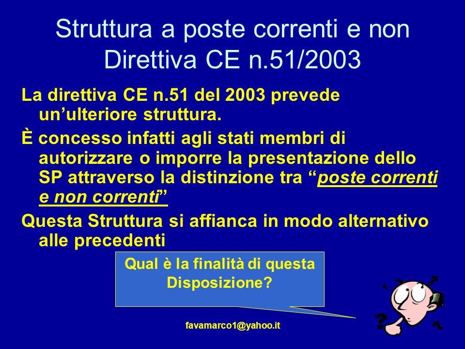 favamarco1@yahoo.it Struttura a poste correnti e non Direttiva CE n.51/2003 La direttiva CE n.51 del 2003 prevede unulteriore struttura.