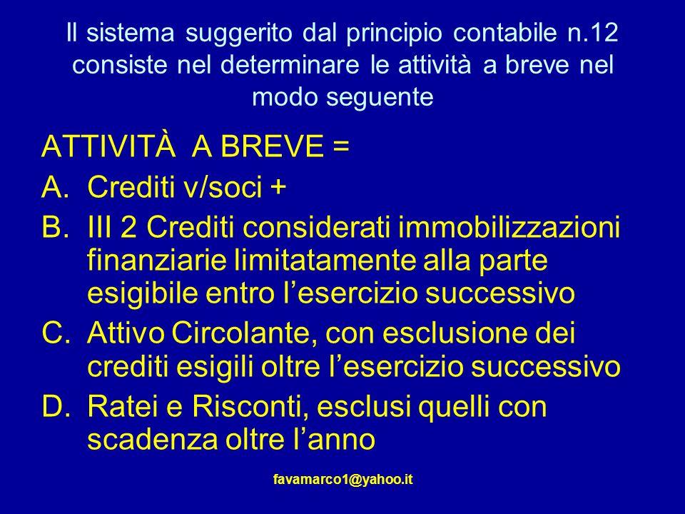 favamarco1@yahoo.it Il sistema suggerito dal principio contabile n.12 consiste nel determinare le attività a breve nel modo seguente ATTIVITÀ A BREVE = A.Crediti v/soci + B.III 2 Crediti considerati immobilizzazioni finanziarie limitatamente alla parte esigibile entro lesercizio successivo C.Attivo Circolante, con esclusione dei crediti esigili oltre lesercizio successivo D.Ratei e Risconti, esclusi quelli con scadenza oltre lanno