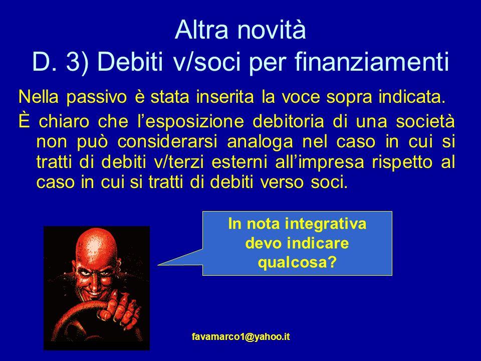 favamarco1@yahoo.it Altra novità D.