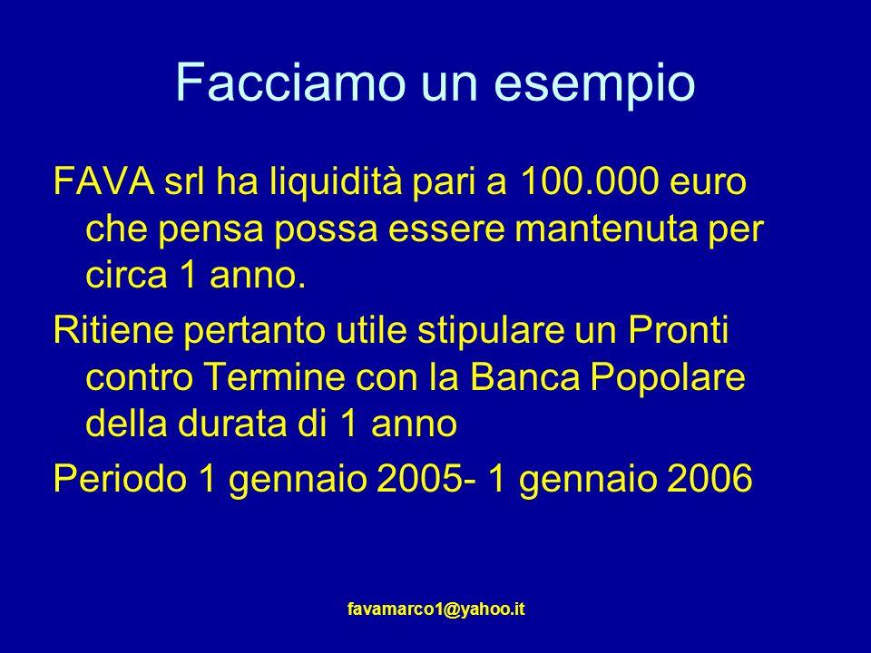 favamarco1@yahoo.it Facciamo un esempio FAVA srl ha liquidità pari a 100.000 euro che pensa possa essere mantenuta per circa 1 anno.