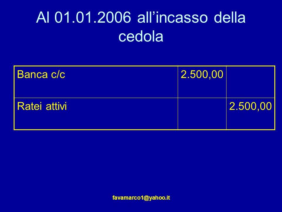 favamarco1@yahoo.it Al 01.01.2006 allincasso della cedola Banca c/c2.500,00 Ratei attivi2.500,00