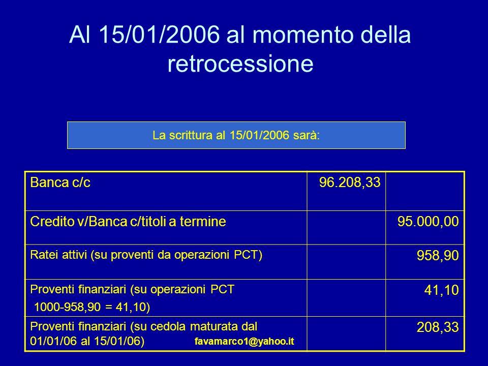 favamarco1@yahoo.it Al 15/01/2006 al momento della retrocessione Banca c/c96.208,33 Credito v/Banca c/titoli a termine95.000,00 Ratei attivi (su proventi da operazioni PCT) 958,90 Proventi finanziari (su operazioni PCT 1000-958,90 = 41,10) 41,10 Proventi finanziari (su cedola maturata dal 01/01/06 al 15/01/06) 208,33 La scrittura al 15/01/2006 sarà: