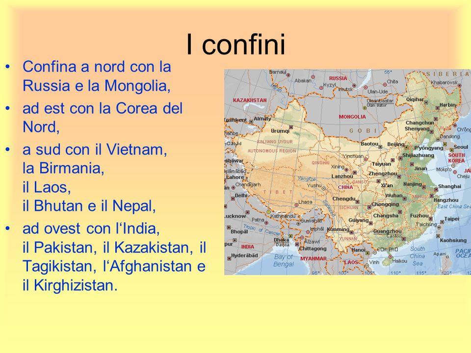 I confini Confina a nord con la Russia e la Mongolia, ad est con la Corea del Nord, a sud con il Vietnam, la Birmania, il Laos, il Bhutan e il Nepal,