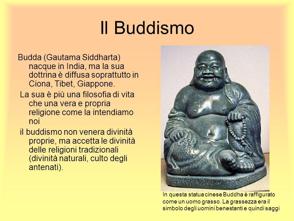 Il Buddismo Budda (Gautama Siddharta) nacque in India, ma la sua dottrina è diffusa soprattutto in Ciona, Tibet, Giappone. La sua è più una filosofia