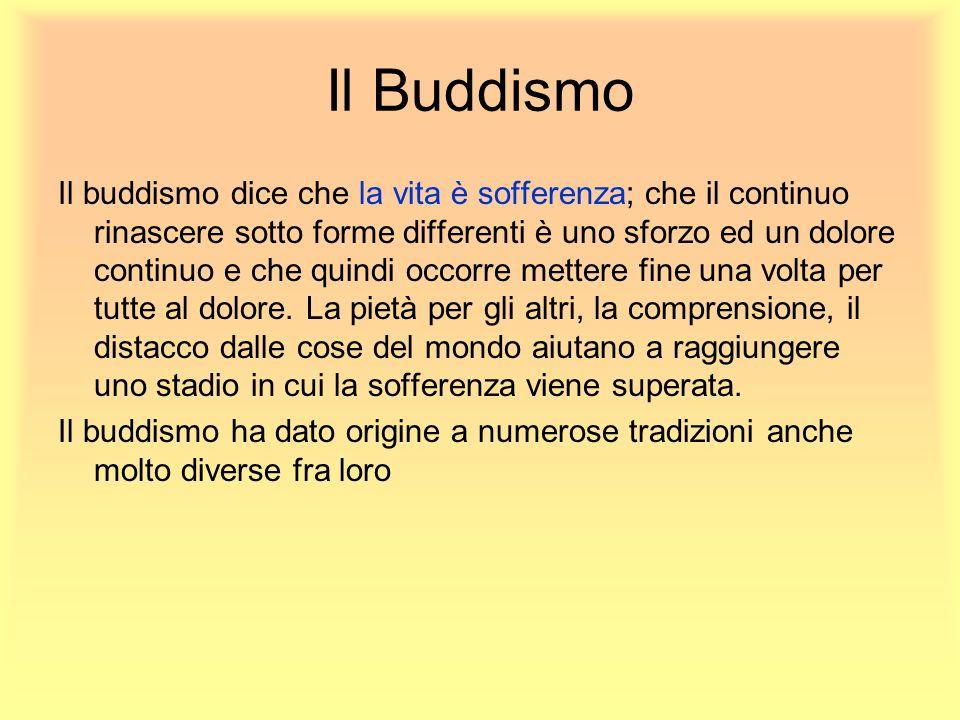 Il Buddismo Il buddismo dice che la vita è sofferenza; che il continuo rinascere sotto forme differenti è uno sforzo ed un dolore continuo e che quind