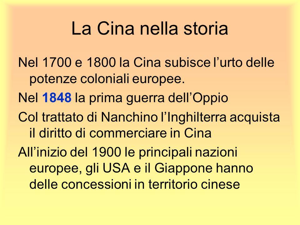 La Cina nella storia Nel 1700 e 1800 la Cina subisce lurto delle potenze coloniali europee. Nel 1848 la prima guerra dellOppio Col trattato di Nanchin