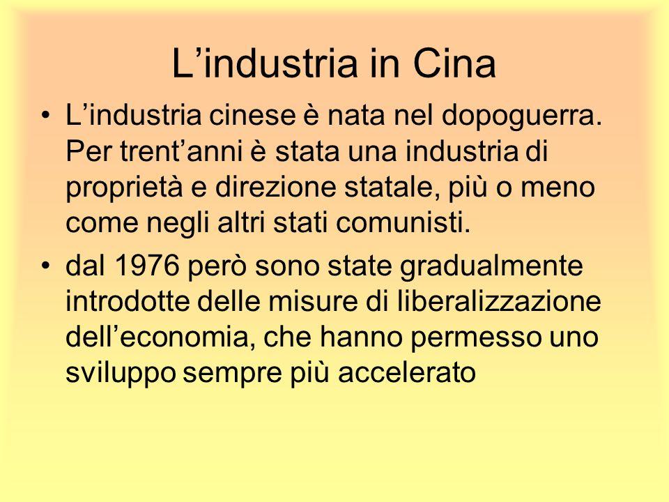 Lindustria in Cina Lindustria cinese è nata nel dopoguerra. Per trentanni è stata una industria di proprietà e direzione statale, più o meno come negl
