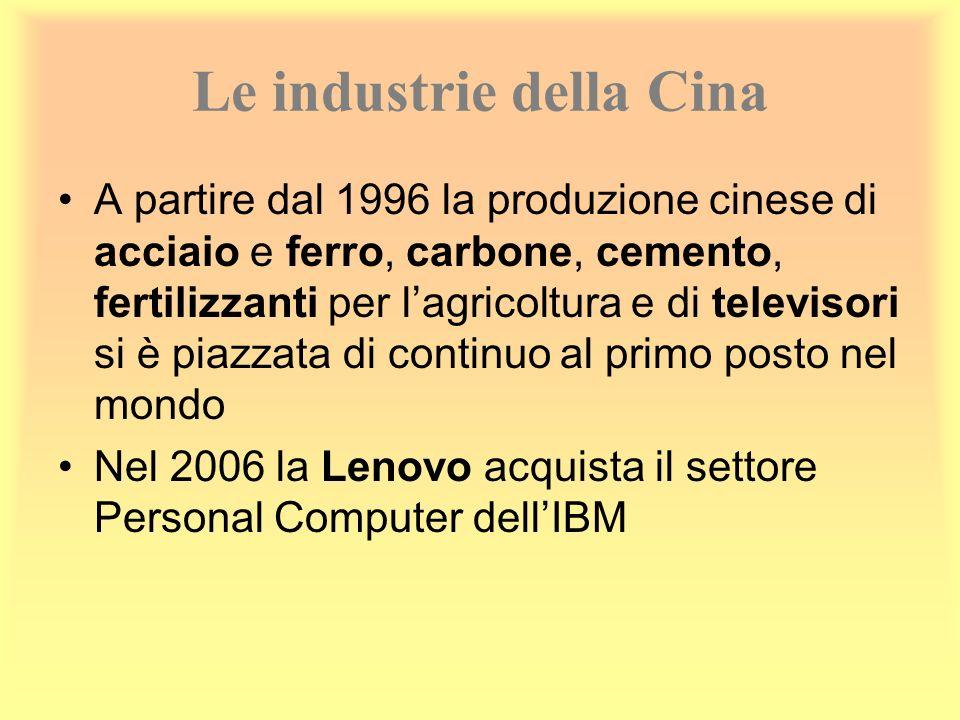 Le industrie della Cina A partire dal 1996 la produzione cinese di acciaio e ferro, carbone, cemento, fertilizzanti per lagricoltura e di televisori s