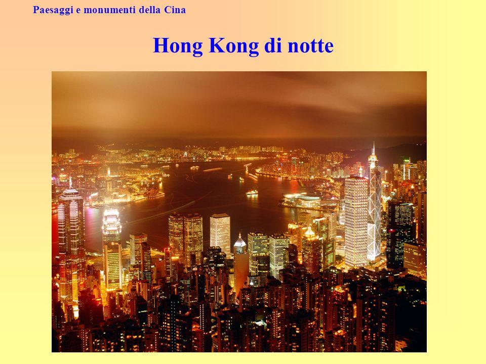 Paesaggi e monumenti della Cina Hong Kong di notte