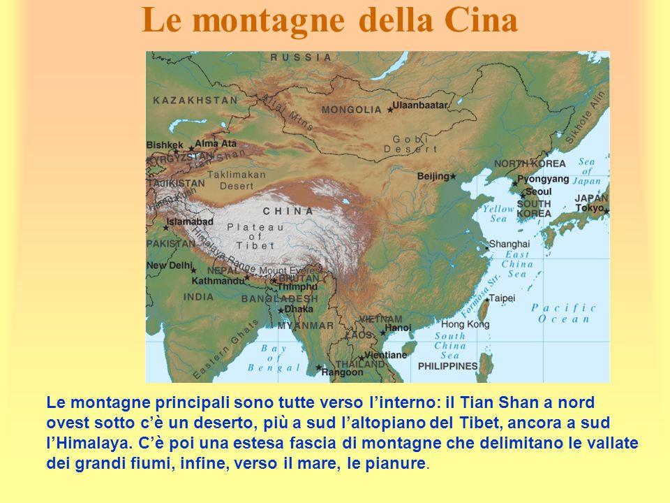 Le montagne della Cina Le montagne principali sono tutte verso linterno: il Tian Shan a nord ovest sotto cè un deserto, più a sud laltopiano del Tibet