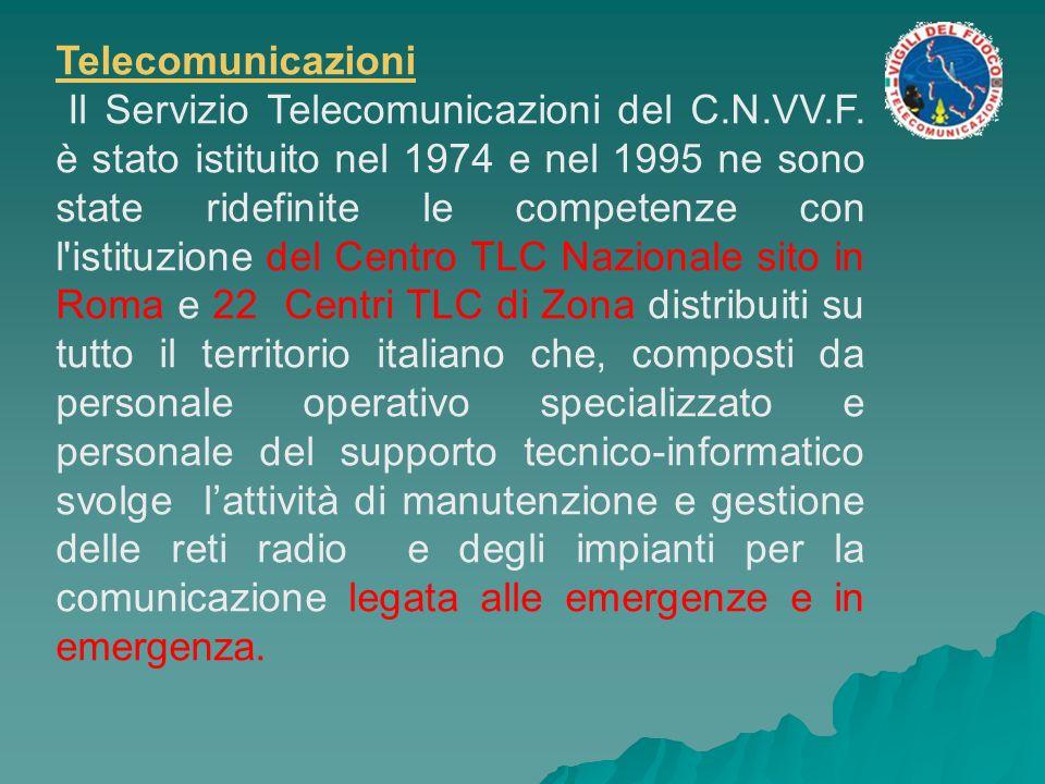 Telecomunicazioni Il Servizio Telecomunicazioni del C.N.VV.F. è stato istituito nel 1974 e nel 1995 ne sono state ridefinite le competenze con l'istit