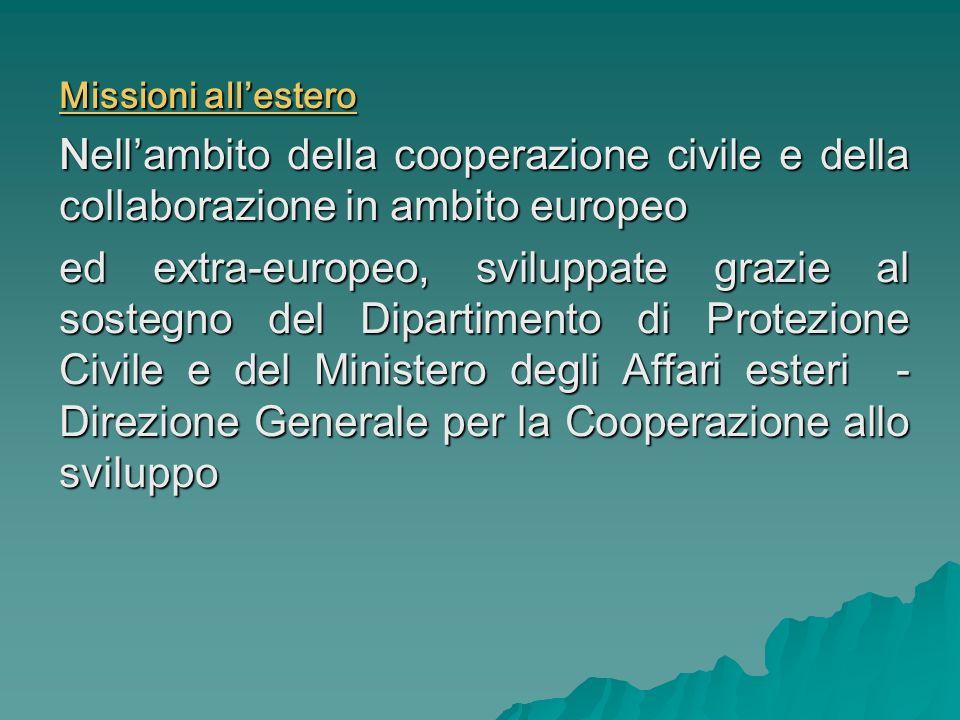 Missioni allestero Nellambito della cooperazione civile e della collaborazione in ambito europeo ed extra-europeo, sviluppate grazie al sostegno del D