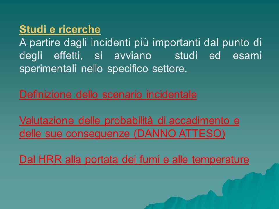 Studi e ricerche A partire dagli incidenti più importanti dal punto di degli effetti, si avviano studi ed esami sperimentali nello specifico settore.