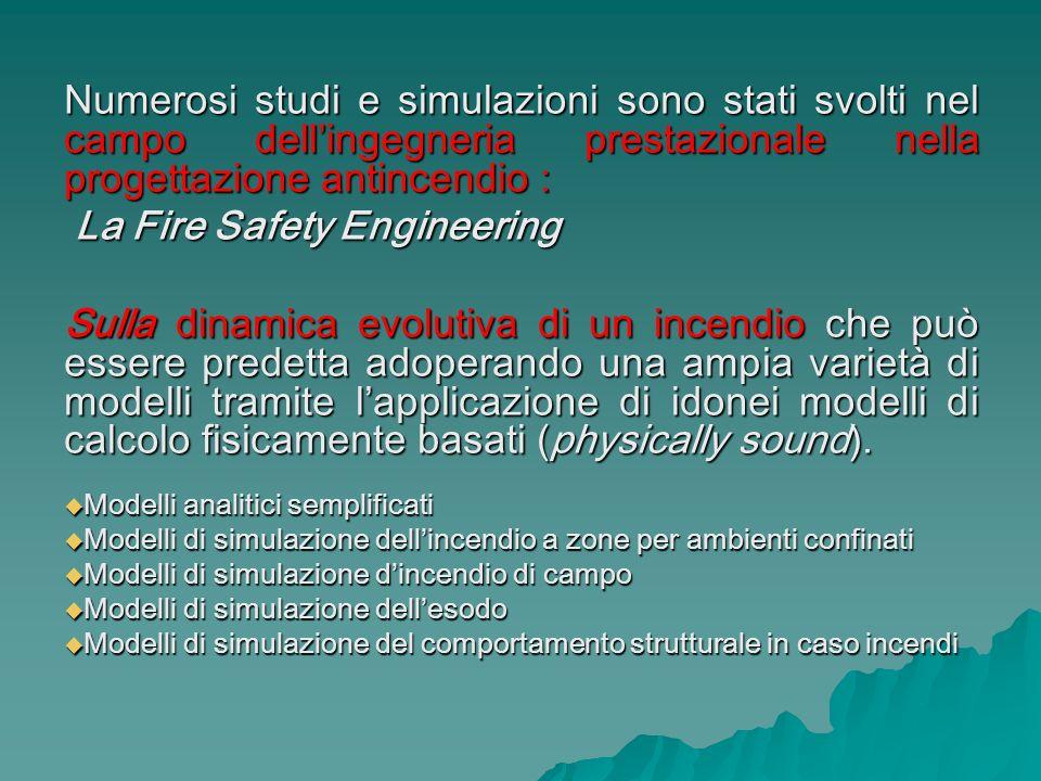 Numerosi studi e simulazioni sono stati svolti nel campo dellingegneria prestazionale nella progettazione antincendio : La Fire Safety Engineering La