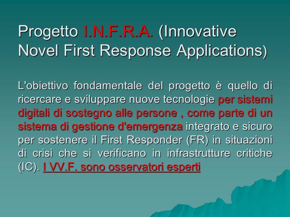 Progetto I.N.F.R.A. (Innovative Novel First Response Applications ) L'obiettivo fondamentale del progetto è quello di ricercare e sviluppare nuove tec
