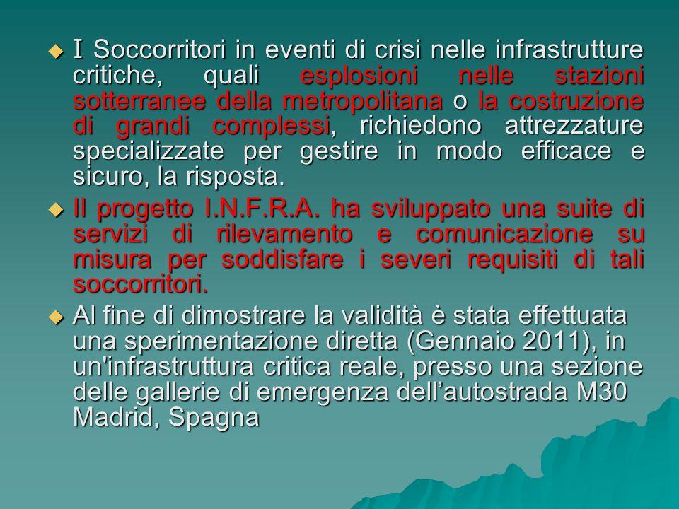 I Soccorritori in eventi di crisi nelle infrastrutture critiche, quali esplosioni nelle stazioni sotterranee della metropolitana o la costruzione di g