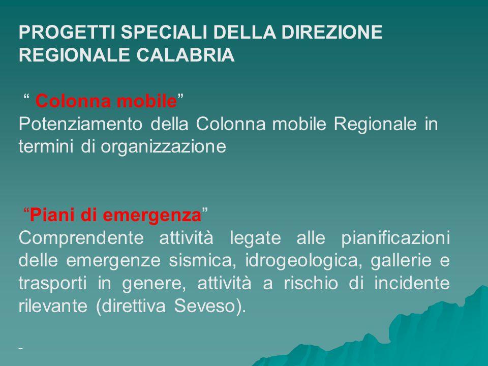 PROGETTI SPECIALI DELLA DIREZIONE REGIONALE CALABRIA Colonna mobile Potenziamento della Colonna mobile Regionale in termini di organizzazione Piani di