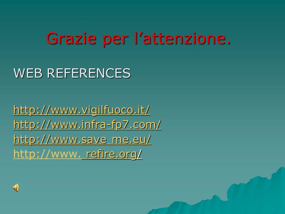 Grazie per lattenzione. WEB REFERENCES http://www.vigilfuoco.it/ http://www.infra-fp7.com/ http://www.save me.eu/ http://www.save me.eu/ refire.org re