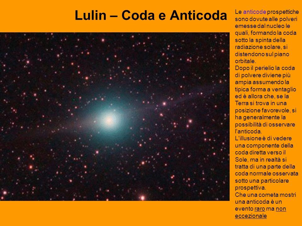 Lulin – Coda e Anticoda Le anticode prospettiche sono dovute alle polveri emesse dal nucleo le quali, formando la coda sotto la spinta della radiazione solare, si distendono sul piano orbitale.