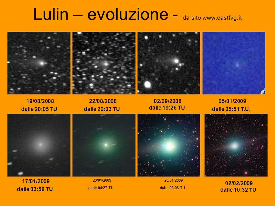 Lulin – evoluzione - da sito www.castfvg.it 19/08/2008 dalle 20:05 TU 22/08/2008 dalle 20:03 TU 02/09/2008 dalle 19:26 TU 05/01/2009 dalle 05:51 T.U.