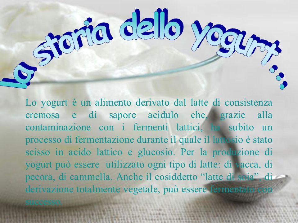 Lo yogurt è un alimento derivato dal latte di consistenza cremosa e di sapore acidulo che, grazie alla contaminazione con i fermenti lattici, ha subito un processo di fermentazione durante il quale il lattosio è stato scisso in acido lattico e glucosio.
