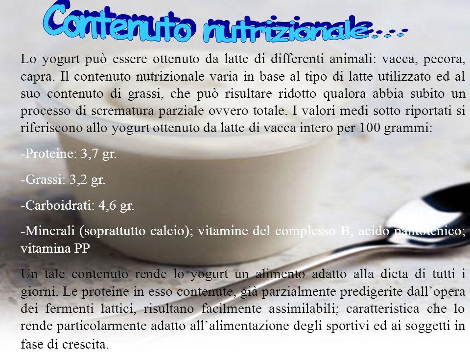 Lo yogurt può essere ottenuto da latte di differenti animali: vacca, pecora, capra. Il contenuto nutrizionale varia in base al tipo di latte utilizzat