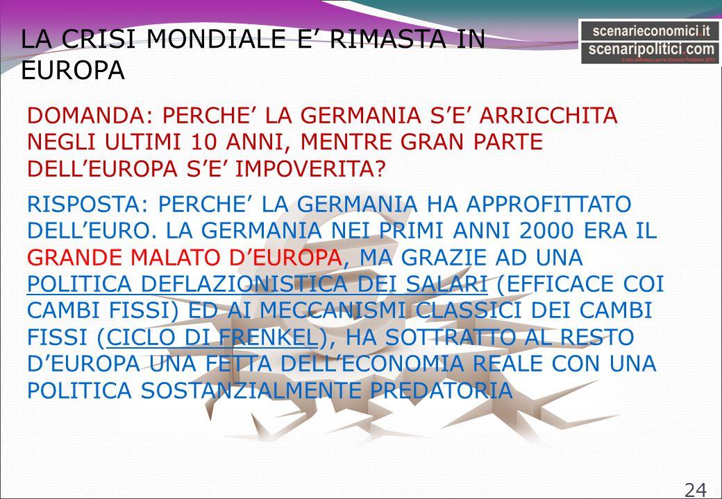 LA CRISI MONDIALE E RIMASTA IN EUROPA 24 DOMANDA: PERCHE LA GERMANIA SE ARRICCHITA NEGLI ULTIMI 10 ANNI, MENTRE GRAN PARTE DELLEUROPA SE IMPOVERITA.