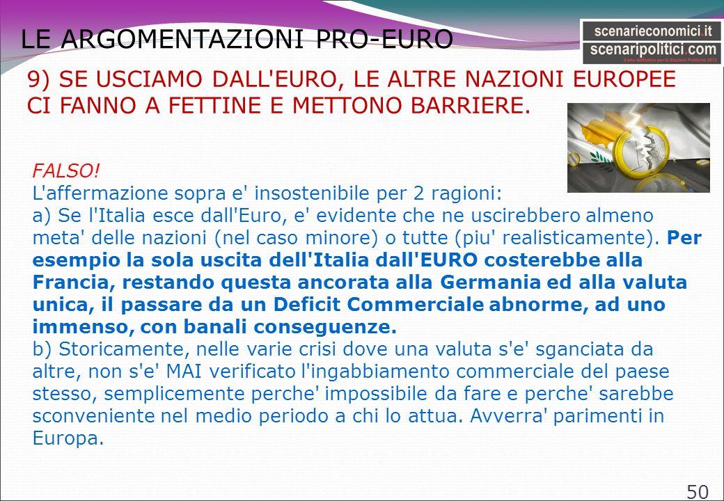 LE ARGOMENTAZIONI PRO-EURO 50 9) SE USCIAMO DALL EURO, LE ALTRE NAZIONI EUROPEE CI FANNO A FETTINE E METTONO BARRIERE.