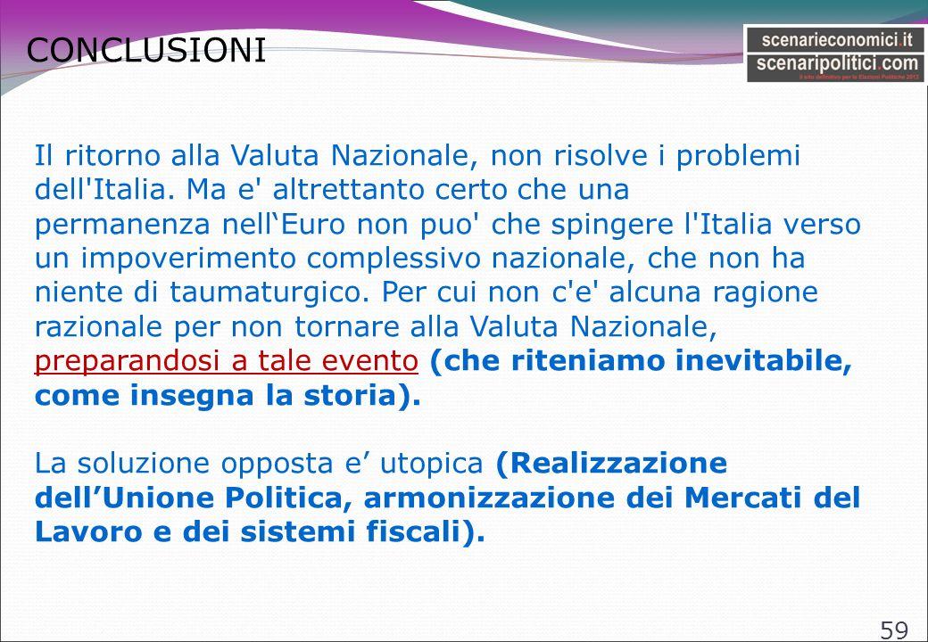 CONCLUSIONI 59 Il ritorno alla Valuta Nazionale, non risolve i problemi dell Italia.