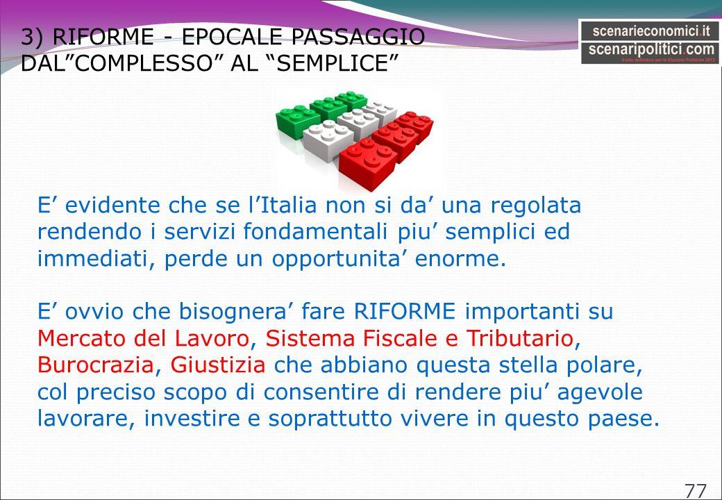 3) RIFORME - EPOCALE PASSAGGIO DALCOMPLESSO AL SEMPLICE 77 E evidente che se lItalia non si da una regolata rendendo i servizi fondamentali piu semplici ed immediati, perde un opportunita enorme.