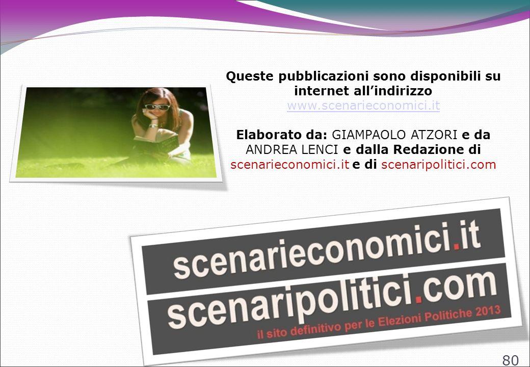 80 Queste pubblicazioni sono disponibili su internet allindirizzo www.scenarieconomici.it www.scenarieconomici.it Elaborato da: GIAMPAOLO ATZORI e da ANDREA LENCI e dalla Redazione di scenarieconomici.it e di scenaripolitici.com
