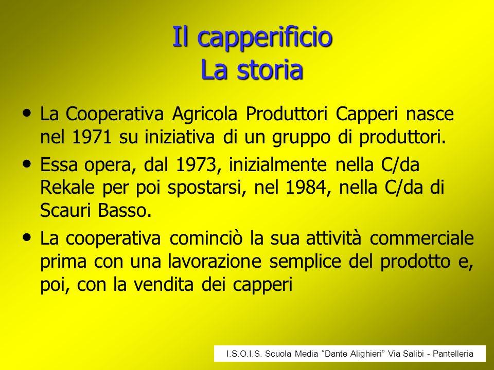 Il capperificio La storia La Cooperativa Agricola Produttori Capperi nasce nel 1971 su iniziativa di un gruppo di produttori. Essa opera, dal 1973, in
