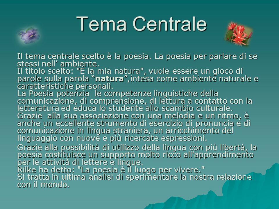 Tema Centrale Il tema centrale scelto è la poesia. La poesia per parlare di se stessi nell ambiente. Il titolo scelto: