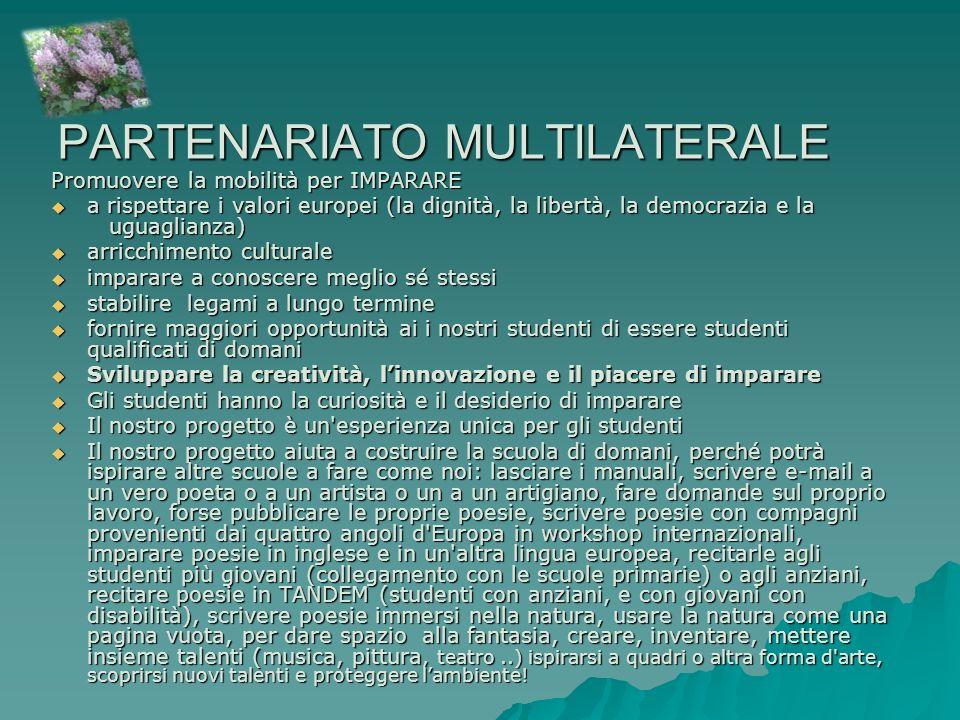 PARTENARIATO MULTILATERALE Promuovere la mobilità per IMPARARE a rispettare i valori europei (la dignità, la libertà, la democrazia e la uguaglianza)