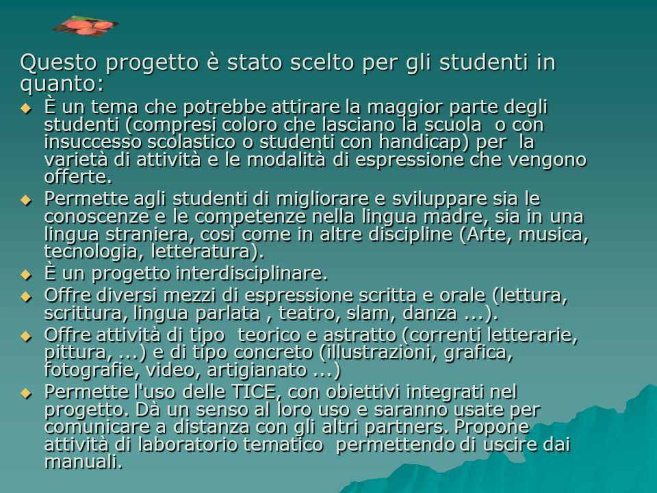 Questo progetto è stato scelto per gli studenti in quanto: È un tema che potrebbe attirare la maggior parte degli studenti (compresi coloro che lascia