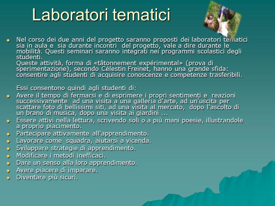 Laboratori tematici Nel corso dei due anni del progetto saranno proposti dei laboratori tematici sia in aula e sia durante incontri del progetto, vale