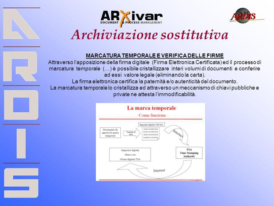 Archiviazione sostitutiva MARCATURA TEMPORALE E VERIFICA DELLE FIRME Attraverso lapposizione della firma digitale (Firma Elettronica Certificata) ed i
