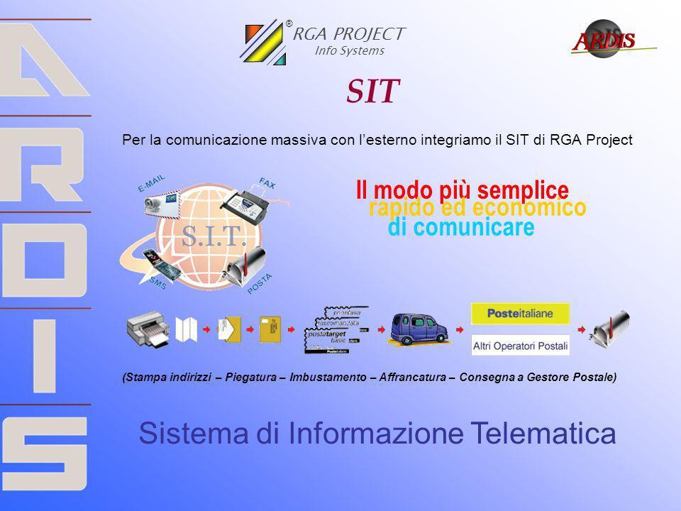 SIT Per la comunicazione massiva con lesterno integriamo il SIT di RGA Project (Stampa indirizzi – Piegatura – Imbustamento – Affrancatura – Consegna