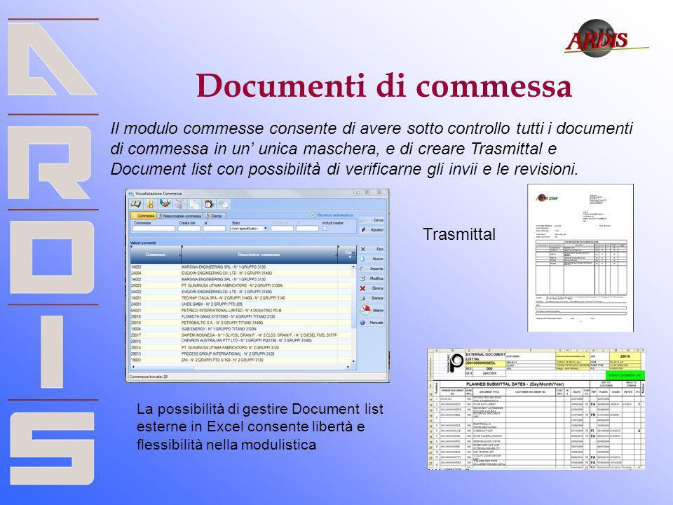 Documenti di commessa Il modulo commesse consente di avere sotto controllo tutti i documenti di commessa in un unica maschera, e di creare Trasmittal