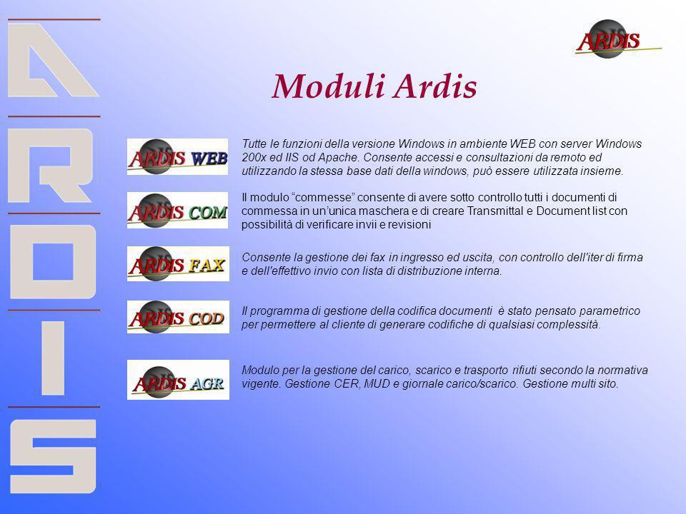 Moduli Ardis Tutte le funzioni della versione Windows in ambiente WEB con server Windows 200x ed IIS od Apache. Consente accessi e consultazioni da re