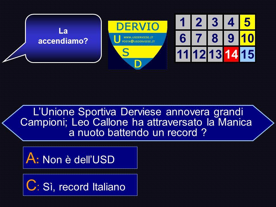 LUnione Sportiva Derviese annovera grandi Campioni; Leo Callone ha attraversato la Manica a nuoto battendo un record .