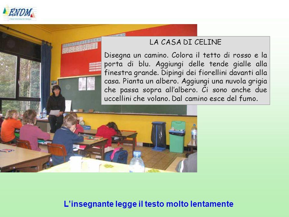 Linsegnante legge il testo molto lentamente LA CASA DI CELINE Disegna un camino.