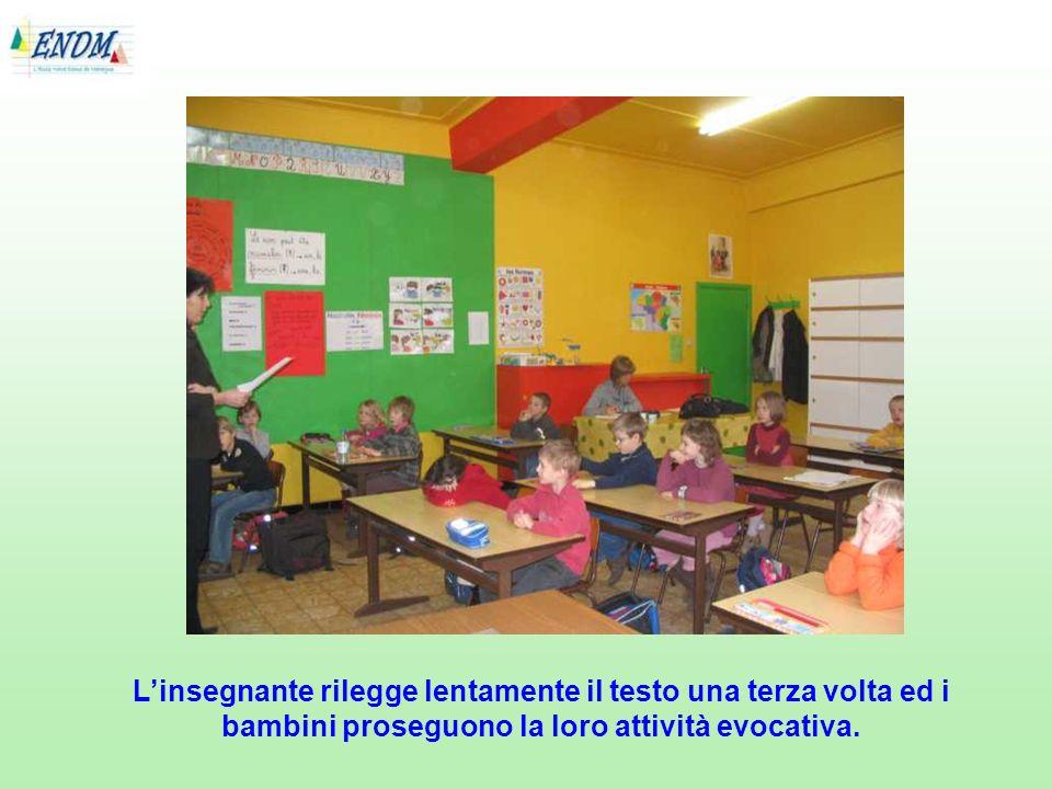 Linsegnante rilegge lentamente il testo una terza volta ed i bambini proseguono la loro attività evocativa.
