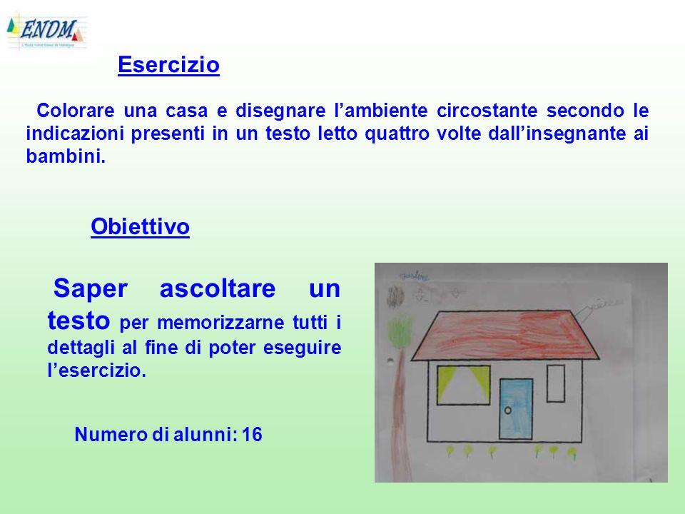 Colorare una casa e disegnare lambiente circostante secondo le indicazioni presenti in un testo letto quattro volte dallinsegnante ai bambini. Eserciz